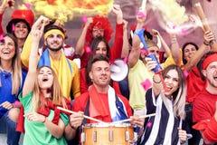Grupa ogląda sporta wydarzenie fan ubierał w różnorodnych kolorach obrazy royalty free