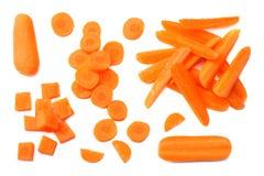 Grupa organicznie małe dziecko marchewki odizolowywać na białym tle Odgórny widok zdjęcia stock