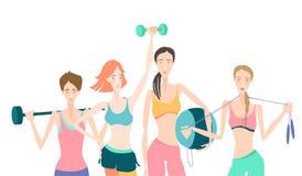 Grupa Piękne uśmiechnięte młode kobiety stoi mienie sprawność fizyczną royalty ilustracja