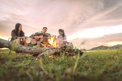 Grupa podróżnicy obozuje, robi pykniczny i bawić się muzykę obraz royalty free