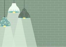 Grupa podsufitowa lampa na zielonych ściana z cegieł tło, wektor Zdjęcia Royalty Free