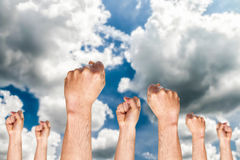 Grupa pokazuje pięść ludzka ręka Zdjęcie Royalty Free