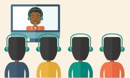 Grupa pracownicy w online dyskusi z czernią ilustracja wektor