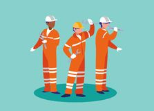 Grupa pracowników industrials avatar charakter ilustracja wektor