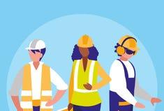 Grupa pracowników industrials avatar charakter ilustracji