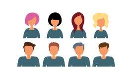 Grupa pracujący ludzi różnorodność, różnorodni biznesowi mężczyzna i kobiety avatar ikony, Wektorowa ilustracja płaski projekt ilustracji