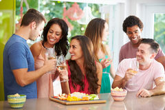 Grupa przyjaciele Cieszy się napoje Bawi się W Domu zdjęcia stock