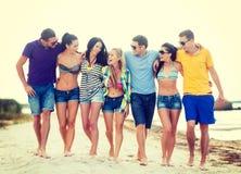 Grupa przyjaciele ma zabawę na plaży Obraz Royalty Free