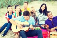 Grupa przyjaciele ma zabawę na plaży Fotografia Royalty Free