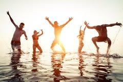 Grupa przyjaciele ma zabawę w wodzie Fotografia Royalty Free