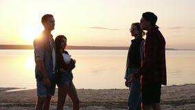 Grupa przyjaciele wiszący na plaży wpólnie Zmierzch nad woda Piękna dwa pary Opowiadać, gestykulujący zbiory