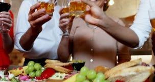 Grupa przyjaciele wznosi toast szkła 4K 4k zbiory