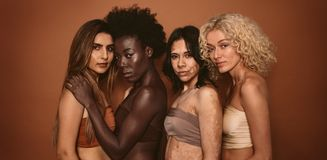 Grupa różnorodne kobiety stoi wpólnie zdjęcia royalty free