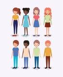 Grupa różnorodność żartuje charaktery ilustracji