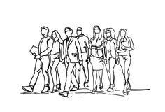 Grupa ręki Rysujący ludzie biznesu Chodzi Naprzód, nakreślenie biznesmenów drużyna profesjonaliści Na Białym tle royalty ilustracja