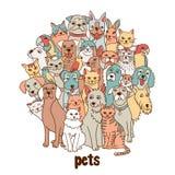 Grupa ręki rysujący zwierzęta domowe royalty ilustracja