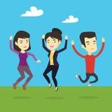 Grupa radośni młodzi ludzie skakać ilustracja wektor