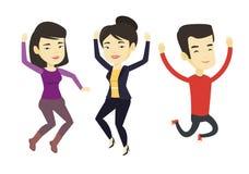 Grupa radośni młodzi ludzie skakać ilustracji