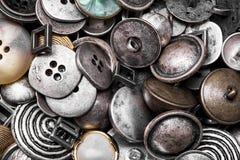 Grupa retro żelazni guziki fotografia stock