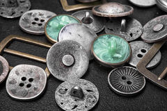 Grupa retro żelazni guziki obrazy royalty free