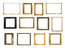 Grupa retro złota prostokątna rama dla fotografii ilustracja wektor