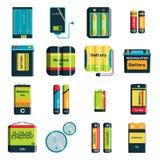 Grupa różne wielkościowe kolor baterii elektryczności ładunku technologii wektoru ikony Obraz Royalty Free