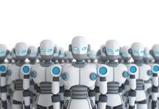 Grupa robot na białej, sztucznej inteligenci, ilustracji