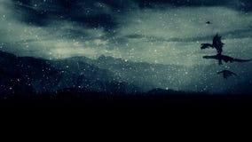 Grupa smoki Lata Pod Śnieżną burzą Nad góry zdjęcie wideo