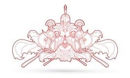 Grupa Spartańscy wojownicy, Romański hełma składu grafiki wektor ilustracja wektor