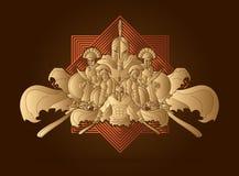 Grupa Spartańscy wojownicy, Romański hełma składu grafiki wektor ilustracji