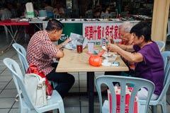 Grupa starsi chińczycy ma śniadanie w tradycyjnym Obrazy Royalty Free