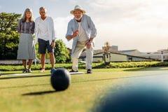 Grupa starszy ludzie bawić się boules w gazonie obrazy royalty free