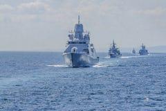 Grupa statki podczas szkolenia w Czarnym morzu Bulgaria/07 19 2018/Military statki na wodzie Artykuł wstępny Używać Tylko obraz stock