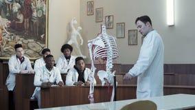 Grupa studenci medycyny przy anatomia wykładem zbiory