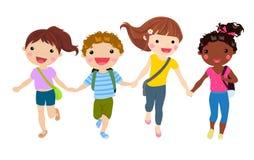 Grupa studencki bieg z szkolnymi torbami ilustracji
