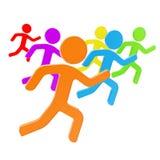 Grupa symboliczna istota ludzka oblicza bieg dla lidera Zdjęcie Royalty Free