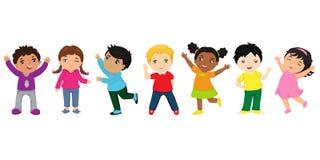 Grupa szczęśliwa dzieciak kreskówka Wielokulturowi dzieci w różnych pozycjach odizolowywać na białym tle ilustracja wektor