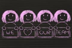 Grupa szczęśliwe kobiety trzyma billboard kochamy nasz drużyny ilustracja wektor