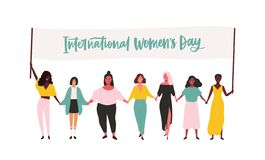 Grupa szczęśliwe młode dziewczyny lub feminizmów aktywiści bierze udział w i trzyma sztandar z zawody międzynarodowi wiecu lub pa royalty ilustracja