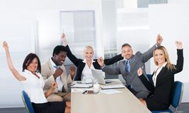 Grupa szczęśliwi biznesmeni Obraz Royalty Free