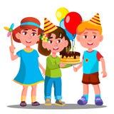 Grupa Szczęśliwi dzieci Świętuje urodziny wektor Wpólnie button ręce s push odizolowana początku ilustracyjna kobieta ilustracja wektor