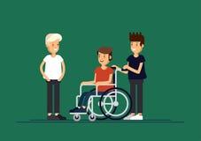 Grupa szczęśliwi dzieci komunikuje z each inny i i bawić się wpólnie Dbać dla niepełnosprawnego dziecka pojęcia ilustracji