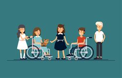 Grupa szczęśliwi dzieci komunikuje z each inny i i bawić się wpólnie Dbać dla niepełnosprawnego dziecka pojęcia ilustracja wektor