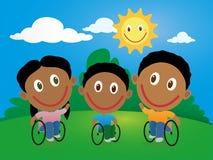 Grupa szczęśliwi dzieci w wózku inwalidzkim Zdjęcie Stock