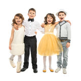 Grupa szczęśliwi dzieciaki w uroczystym odziewa Zdjęcia Royalty Free