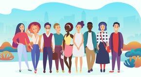 Grupa szczęśliwi ludzie lub firmy drużyna w przypadkowych ubraniach na miasta tle Modny miękki gradientowy koloru wektor ilustracja wektor
