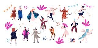 Grupa szczęśliwi mężczyźni i kobiety ubierał w świątecznych kostiumach dla maskarady, karnawał, przyjęcie, wakacyjny świętowanie  ilustracji