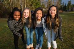 Grupa szczęśliwi młoda dziewczyna przyjaciele zdjęcie royalty free