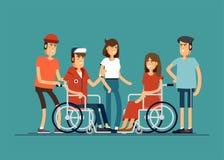 Grupa szczęśliwi młodzi ludzie komunikuje z each inny Dbać dla niepełnosprawni pojęcie Wektorowy iilustration ilustracja wektor