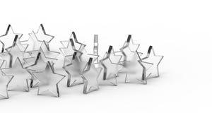 Grupa szkło gwiazdy odizolowywać na białym tle świadczenia 3 d zdjęcia royalty free
